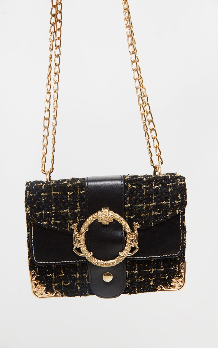 Black Tweed Gold Trim Chain Cross Body Bag 3