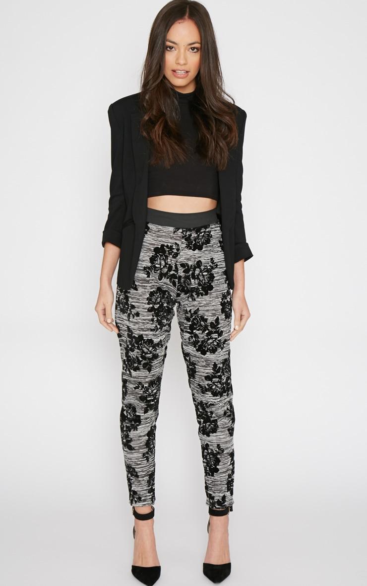 Siba Grey Floral Trouser  1