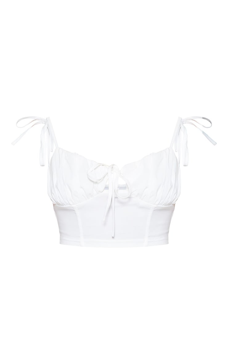 White Ruched Cup Crop Top 3