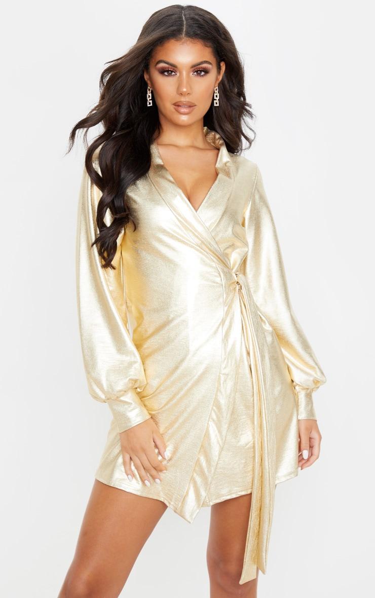 Gold Metallic Long Sleeve Tie Detail Shift Dress 1