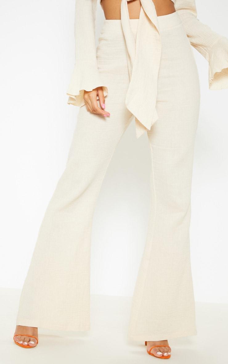 Stone Textured Flare Leg Pants 2