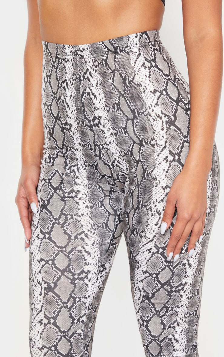 Grey Snake Print Leggings 5