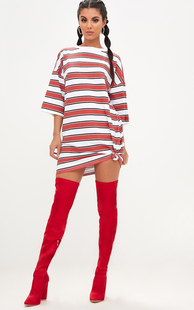 Red Striped Oversized Boyfriend T Shirt Dress 4