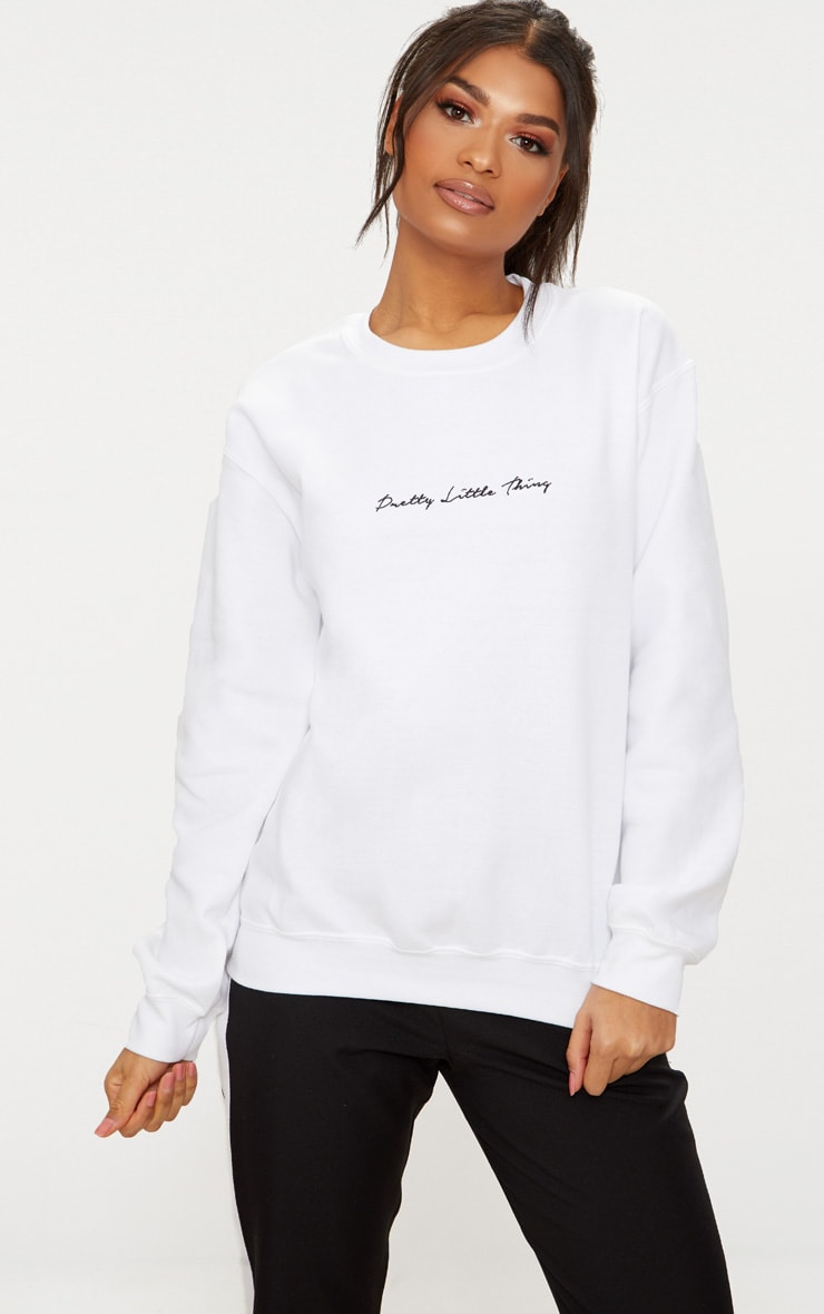 PRETTYLITTLETHING White Embroidered Oversized Sweater 1