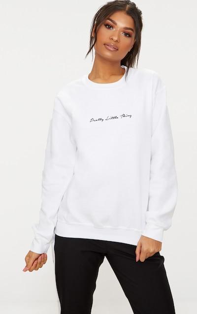 Sweat oversized blanc à slogan brodé PrettyLittleThing d2f4d4e0a951