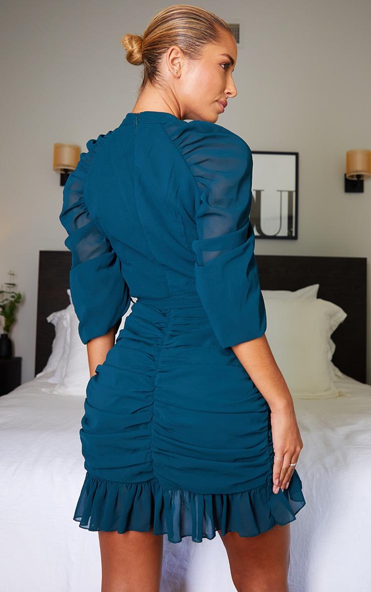 Emerald Green Chiffon Ruched Sleeves Frill Hem Bodycon Dress 2