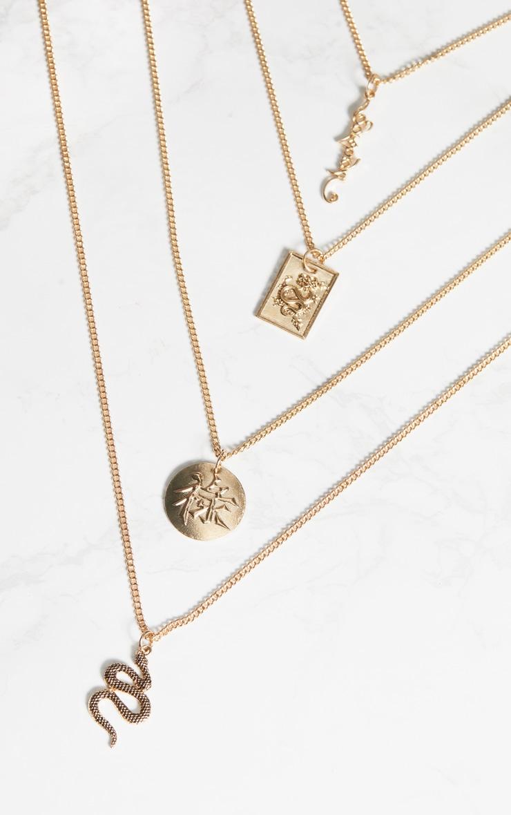 gold snake chinese symbol long layered necklace. Black Bedroom Furniture Sets. Home Design Ideas