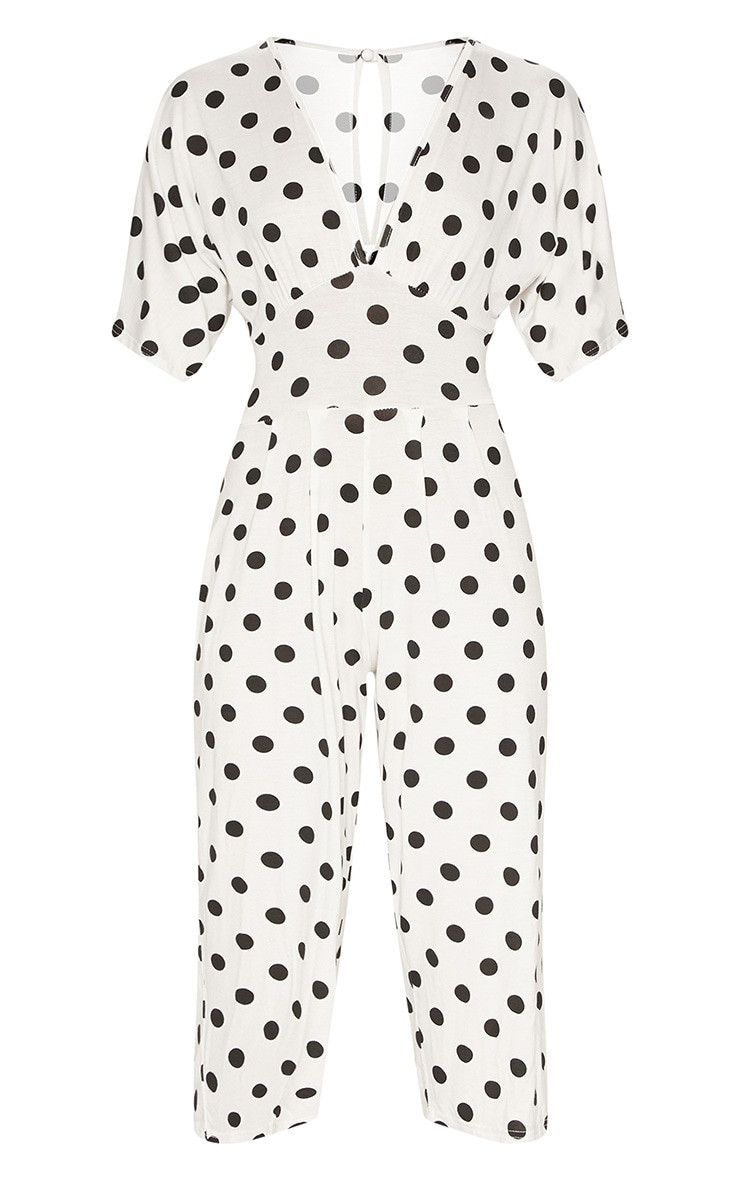 White Polka Dot Bat Wing Culotte Jumpsuit 3