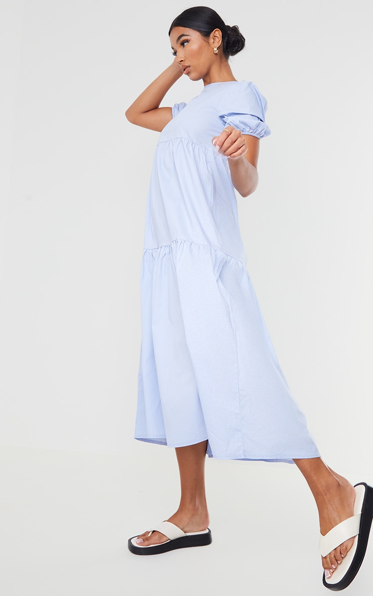 Blue Cotton Tiered Drop Hem Short Sleeve Midi Smock Dress 3