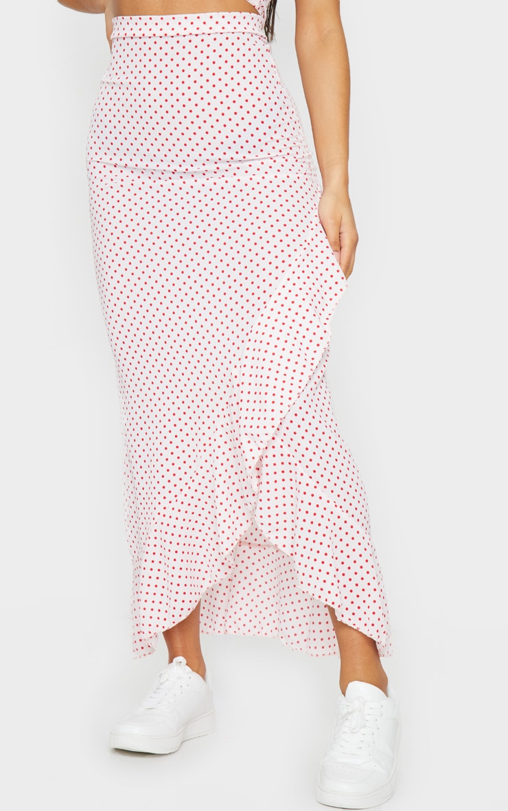 Light Pink Polka Dot Printed Woven Frill Hem Midi Skirt 2