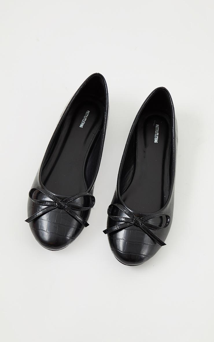 Black Wide Fit Croc PU Round Toe Ballet Shoes 3