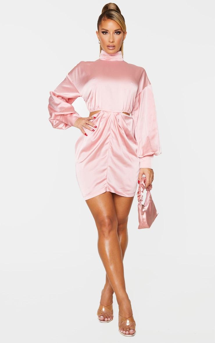 Blush Satin High Neck Cut Out Waist Long Sleeve Bodycon Dress 3