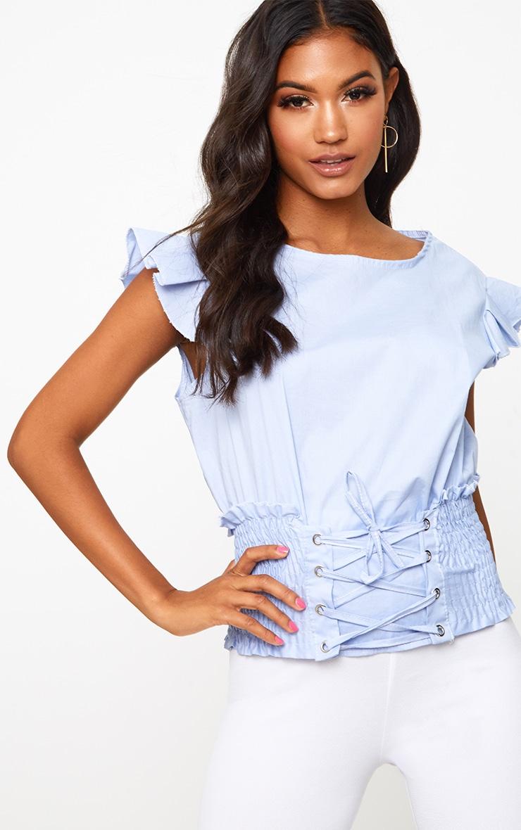 Blue Corset Frill Sleeve Shirt 1