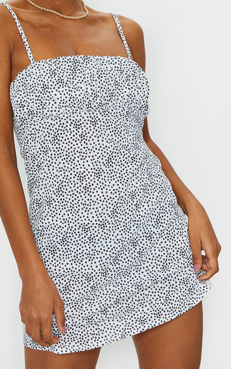 White Dalmatian Print Ruched Bust Shift Dress 4