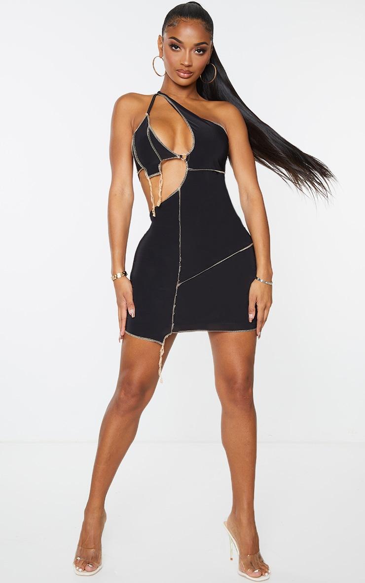 Shape Black Slinky Overlock Ring Detail Cut Out Bodycon Dress 3