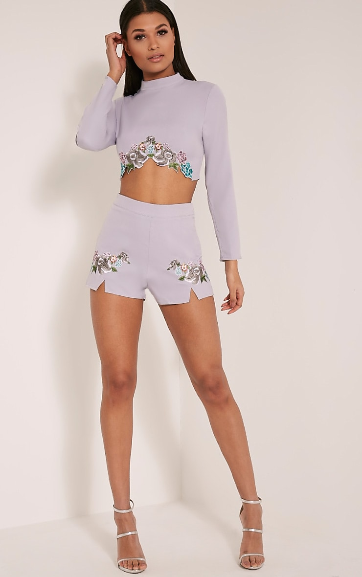 Angie Grey Floral Embroidered Shorts 6