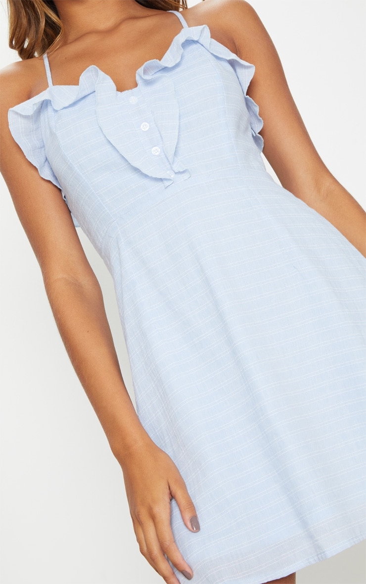 Dusty Blue Button Detail Strappy Cross Back Skater Dress 5