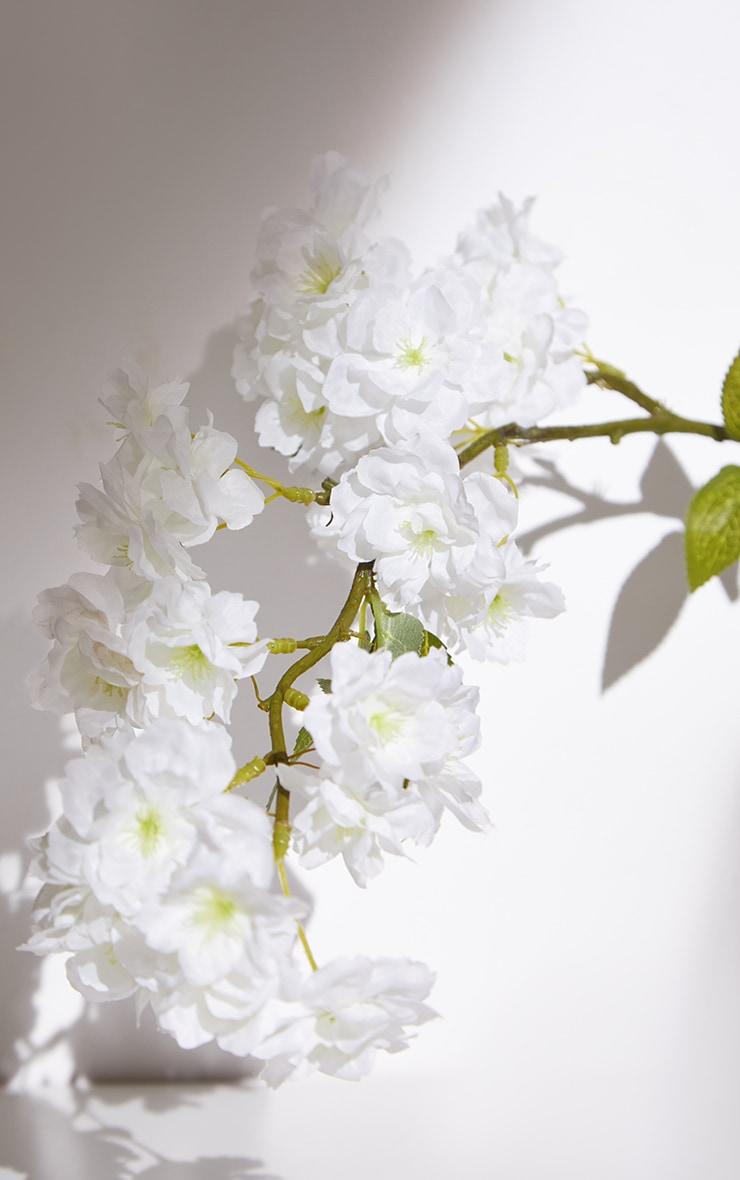 White Silk Bowing Cherry Blossom Stem Artificial Flower 5