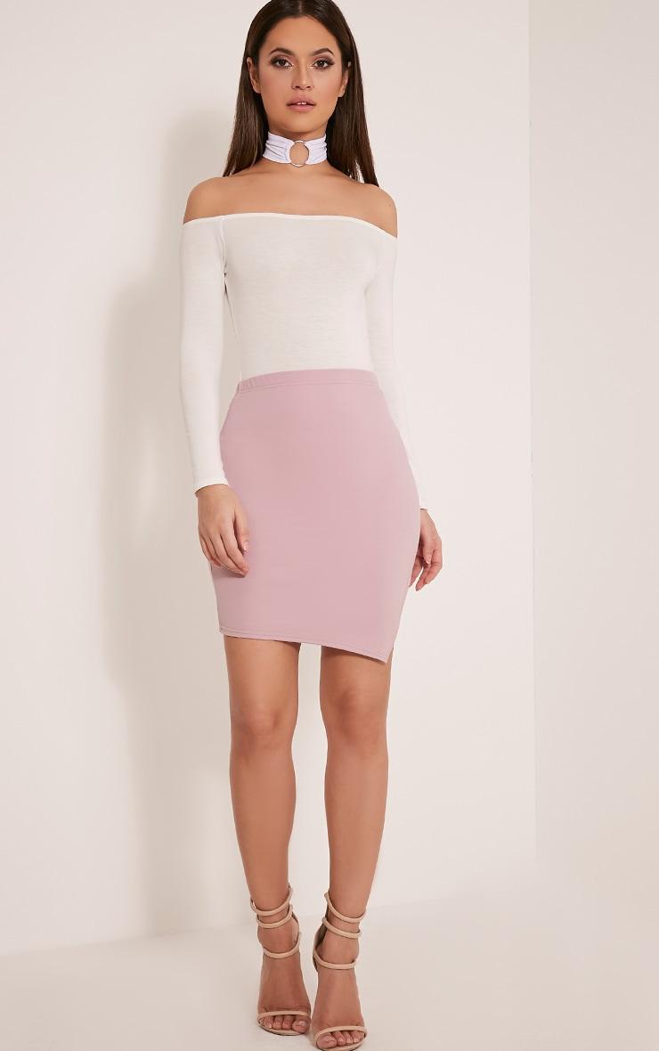Juliette Mauve Asymmetric Scuba Mini Skirt 6