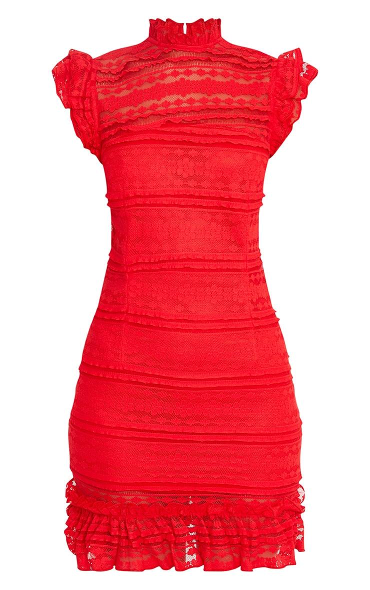 Clariya Red Frill Neck Ruffle Layer Lace Bodycon Dress  3