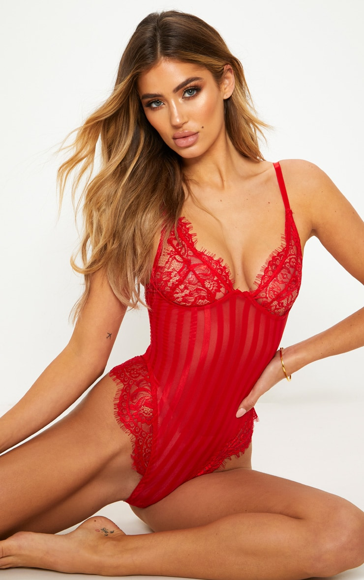 Red Striped Lace Bodysuit