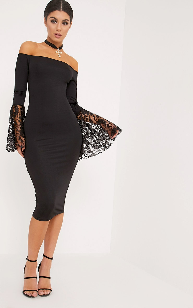 Tayler Black Bardot Lace Flared Sleeve Midi Dress 1