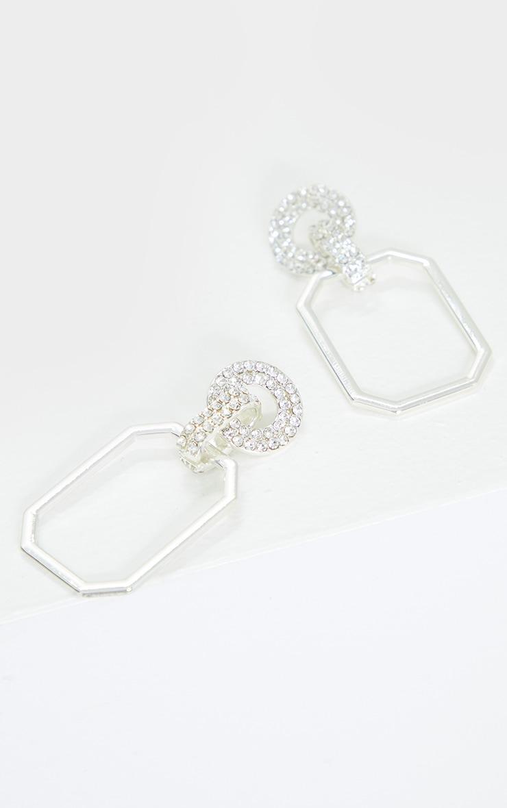 Silver Diamante Circle Link Door Knocker Earrings 3