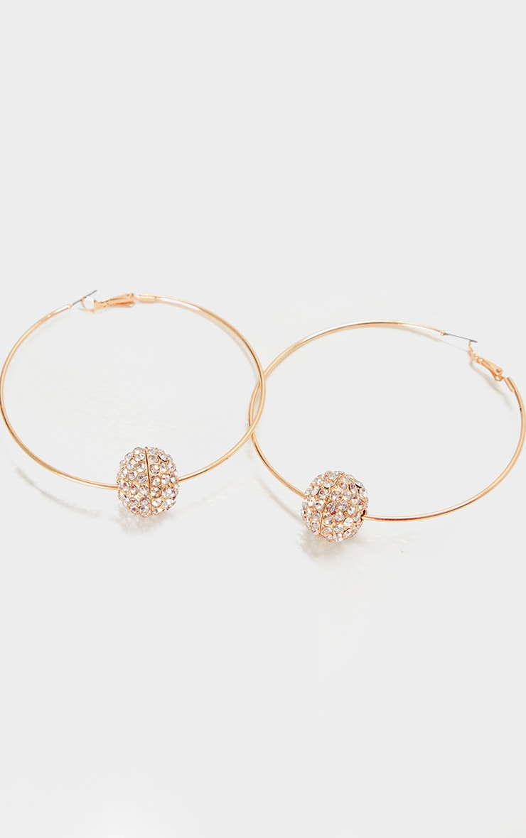 Gold Oversized Diamante Ball Hoop Earrings 3