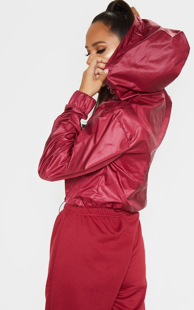 Burgundy Shell Toggle Detail Tracksuit Jacket