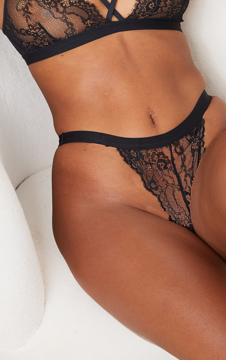 Black High Waisted Strap Lace Thong 5