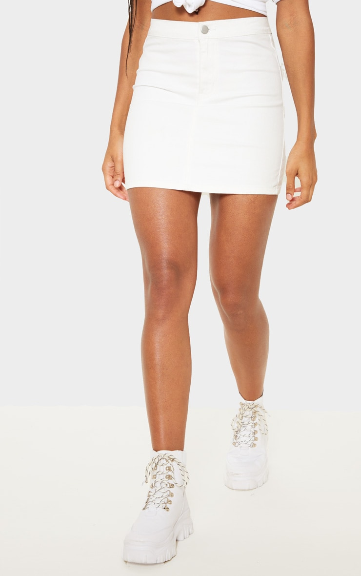 White Disco Fit Denim Skirt 2