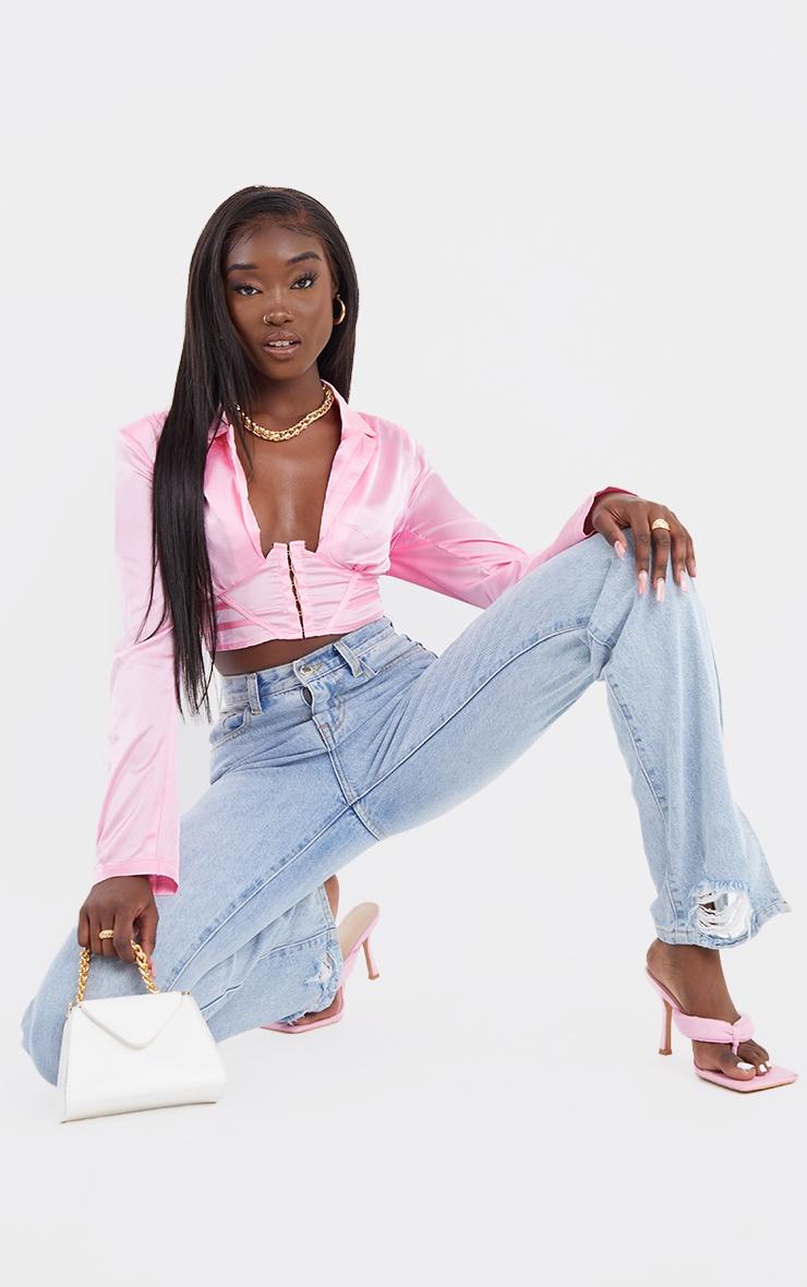 Hot Pink Satin Corset Waist Plunge Crop Shirt 1