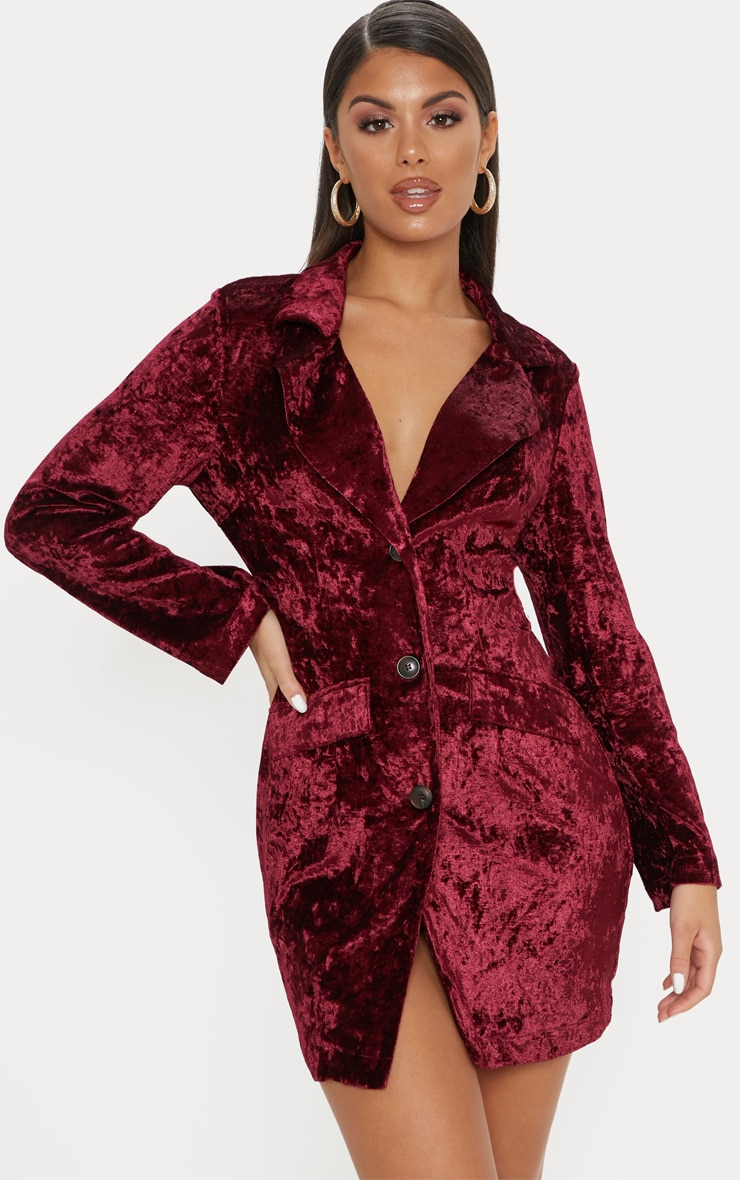 Burgundy Crushed Velvet Blazer Dress 1