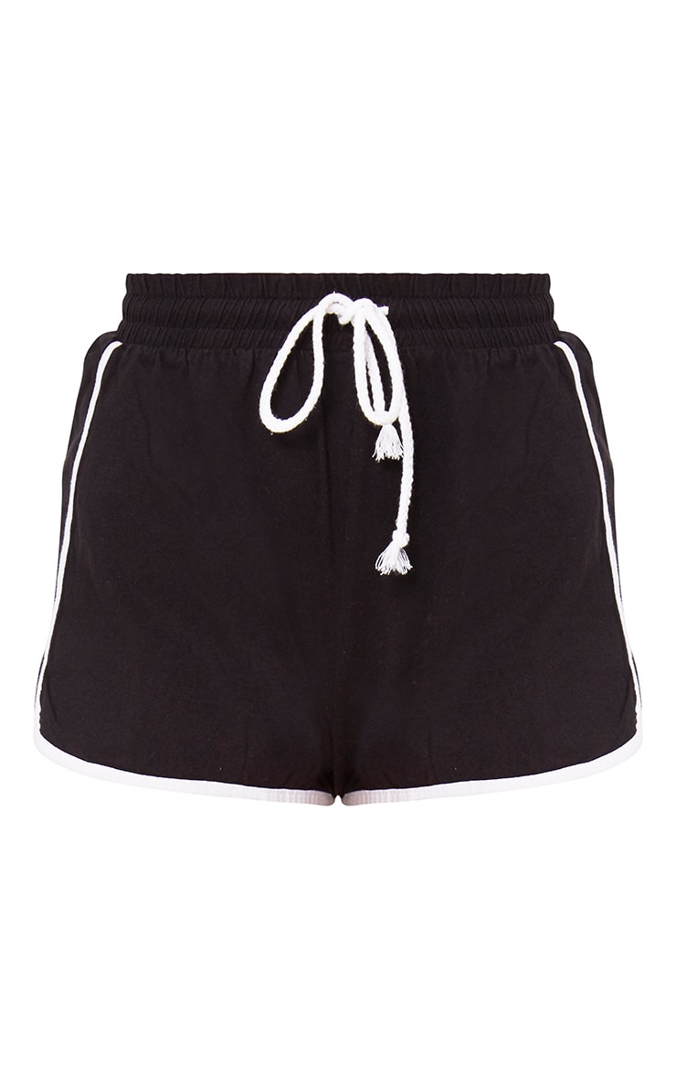 Black Contrast Binding Runner Shorts 3