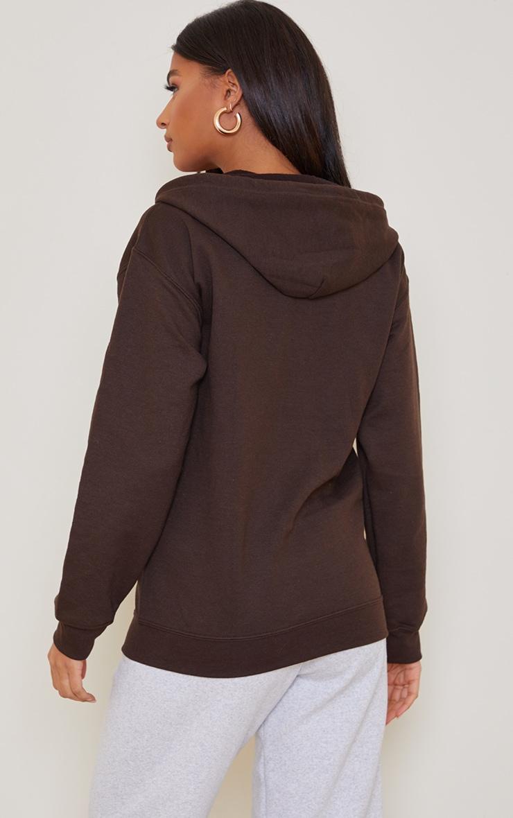 Brown Fleece Zip Hoodie 2