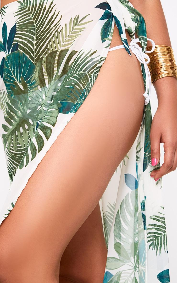 White Chiffon Palm Print Beach Maxi Skirt 6