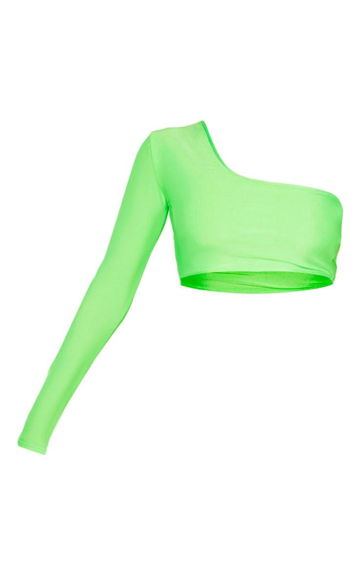 Lime One Shoulder Long Sleeve Bikini Top 3