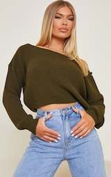 Khaki Off The Shoulder Knitted Sweater 3