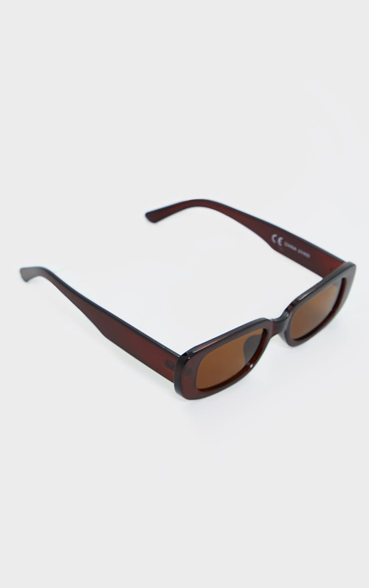 Brown Chunky Square Frame Sunglasses 2