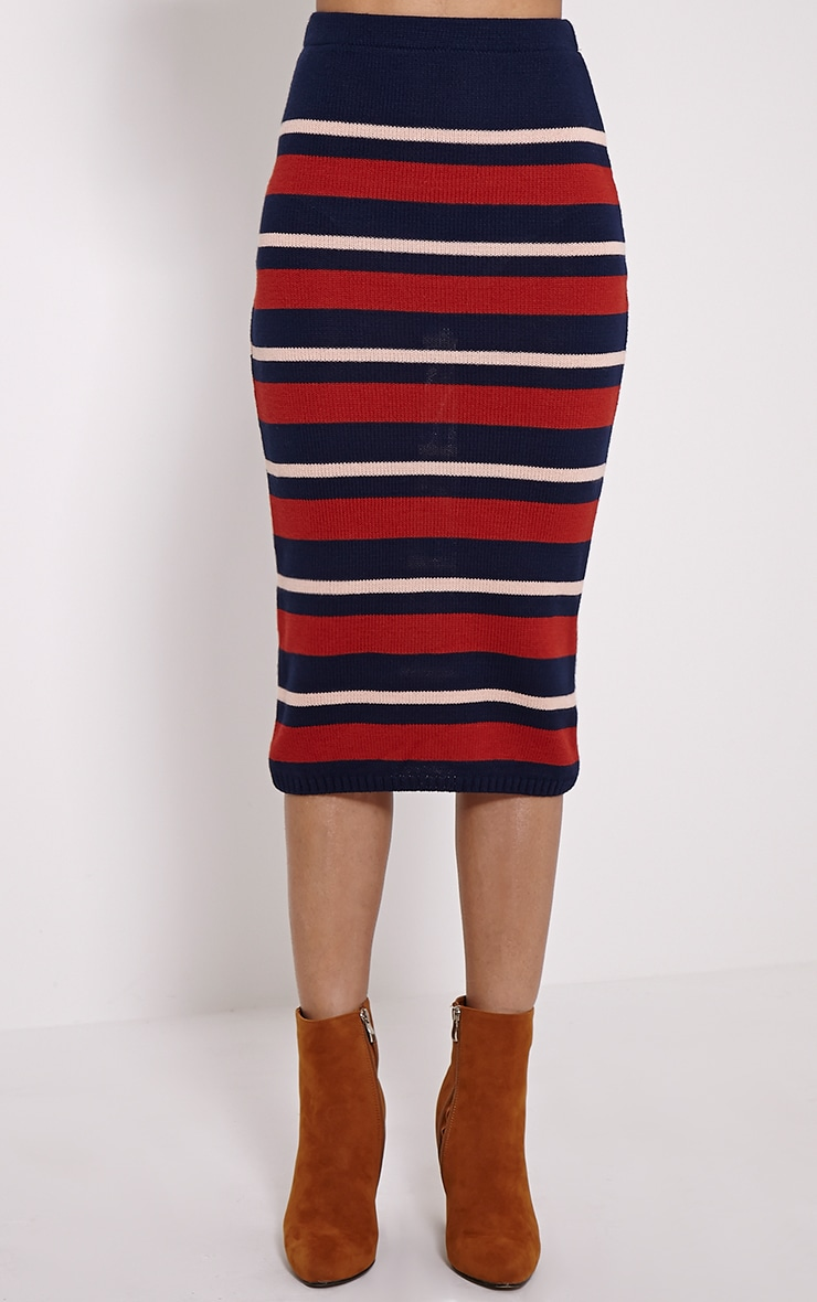 Aurora Navy Stripe Knitted Midi Skirt 2