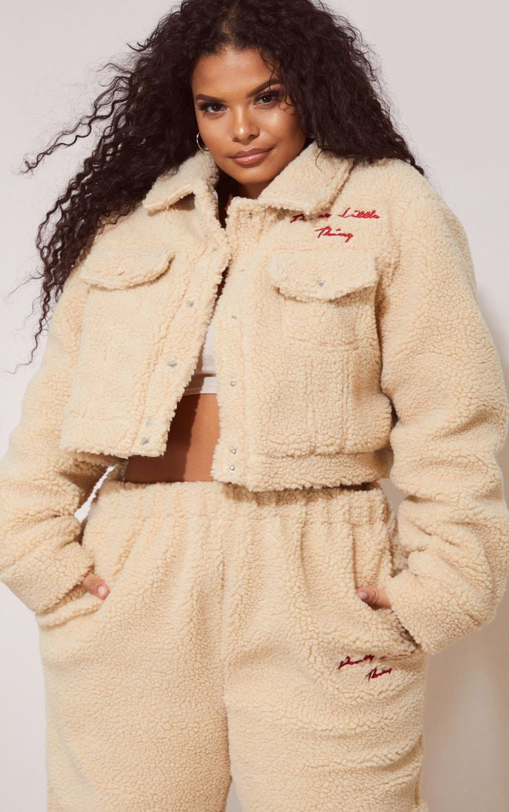 PRETTYLITTLETHING Plus Cream Borg Embroidered Crop Jacket 1