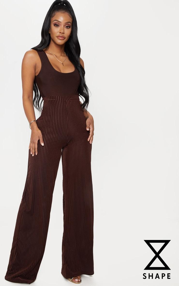 Shape Chocolate Brown Velvet Stripe Wide Leg Trouser by Prettylittlething