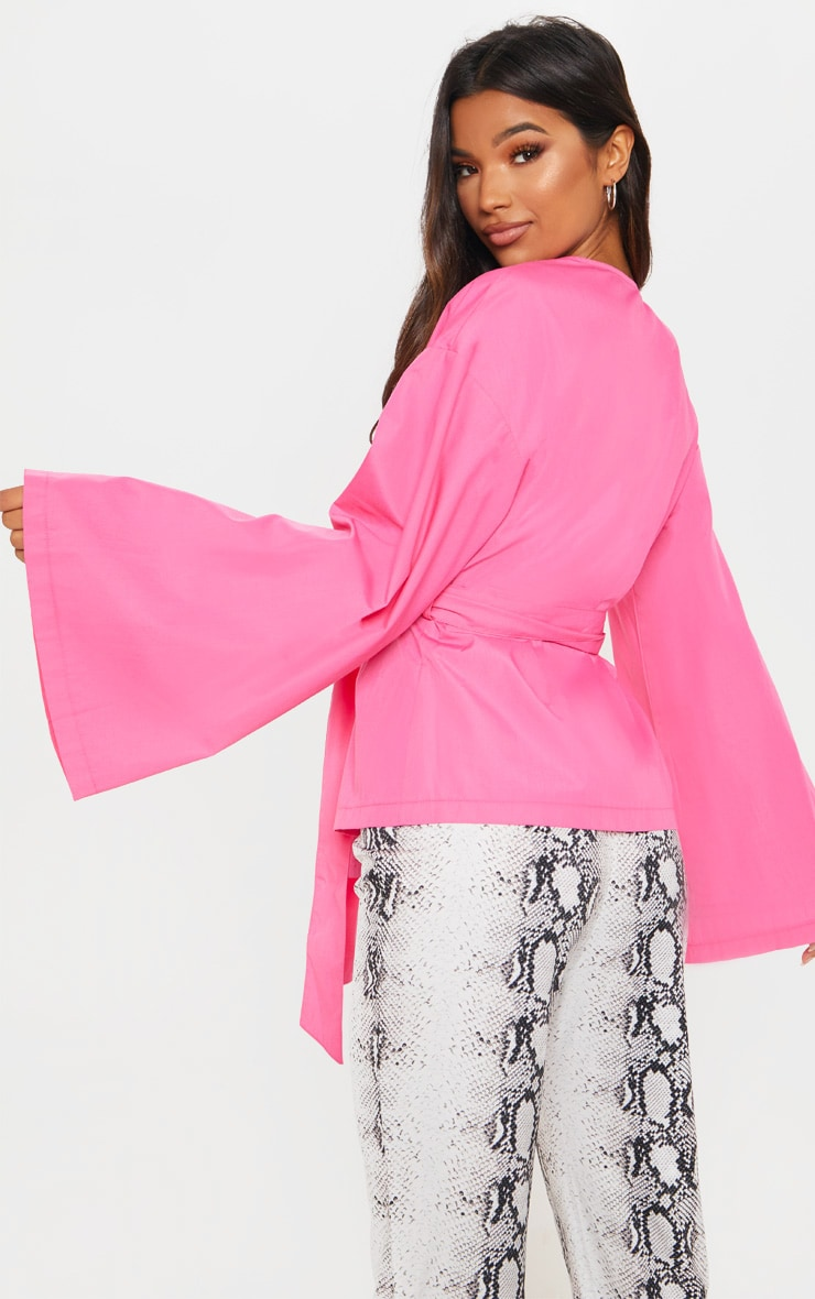 Pink Woven Belted Shirt 2
