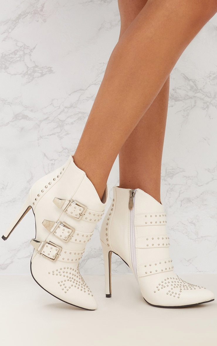 White Studded Buckle Ankle Boots 1