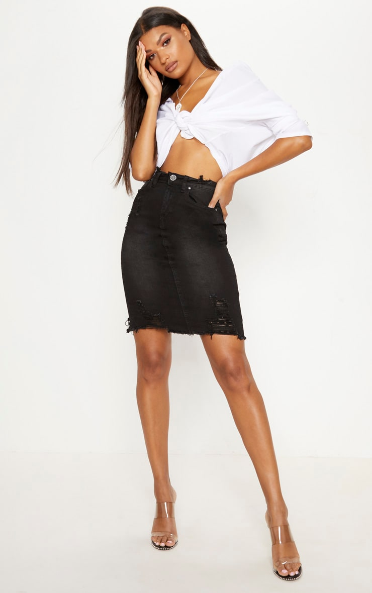 Black Distressed Rip Denim Skirt 1