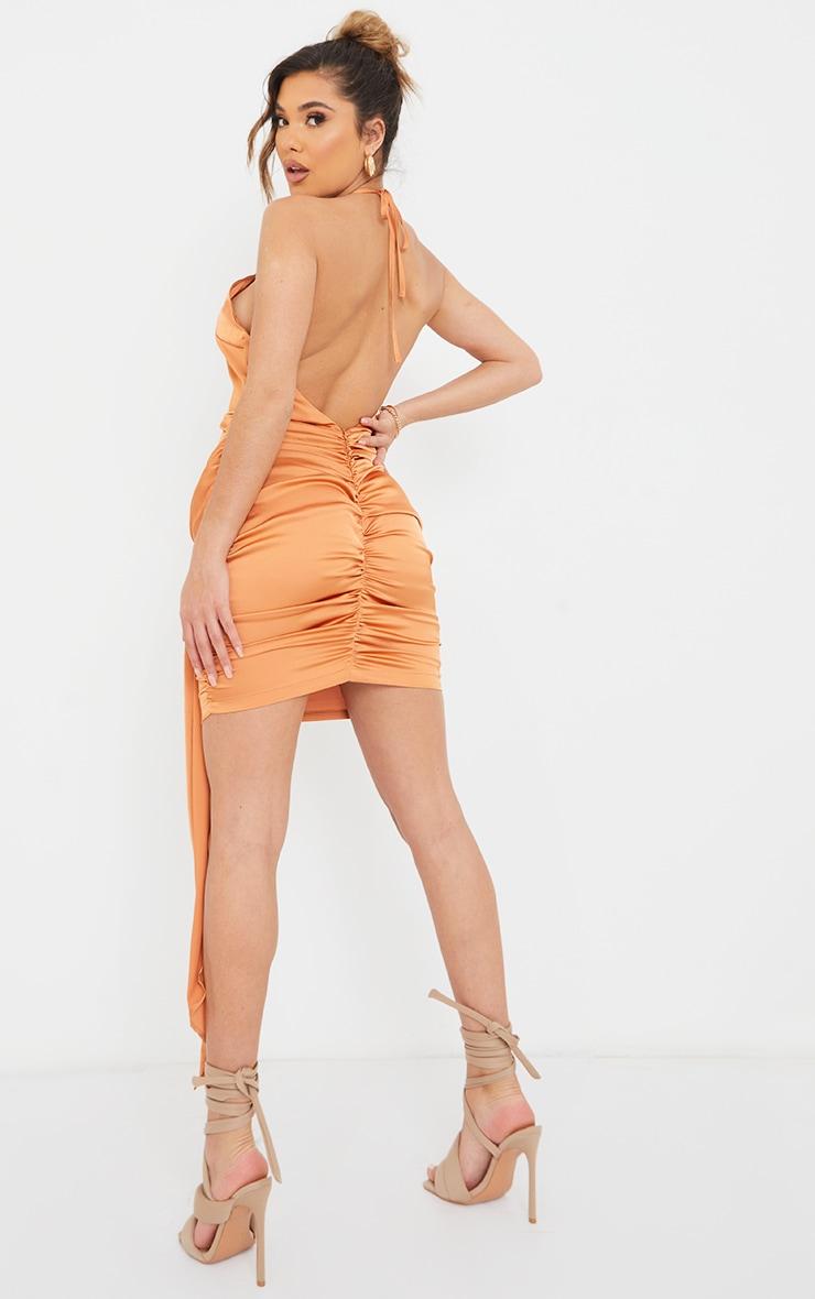 Rust Satin Halterneck Ruched Drape Detail Bodycon Dress 2