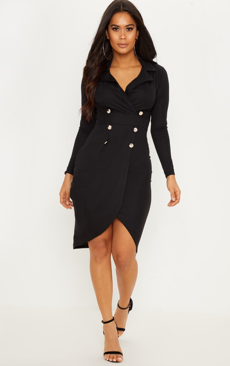 Black Military Style Midi Blazer Dress