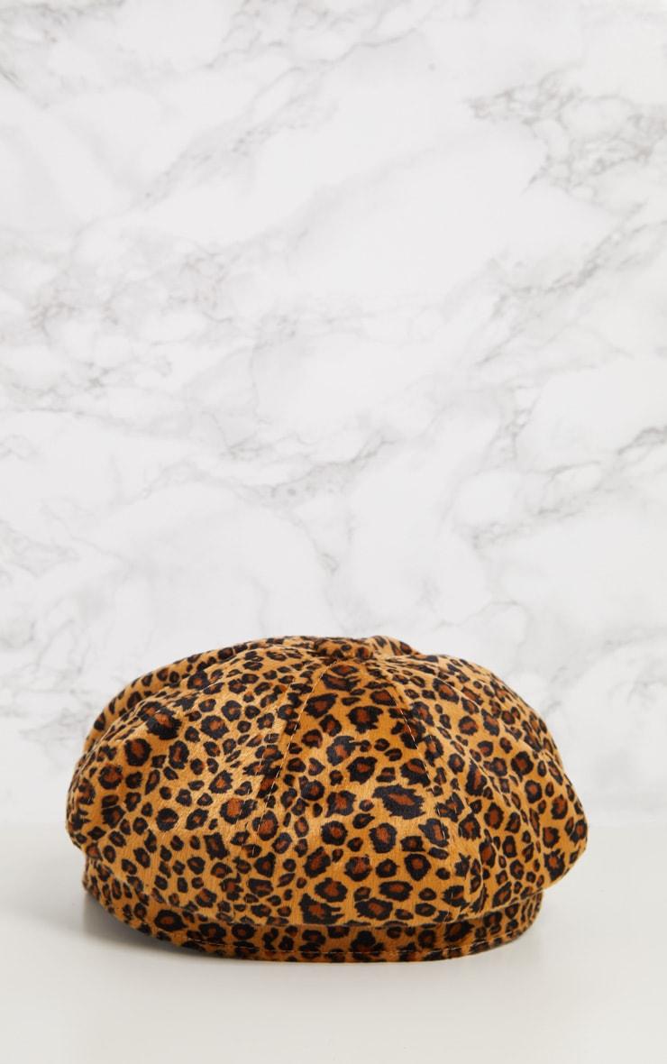 Leopard Print Baker Boy Hat 5