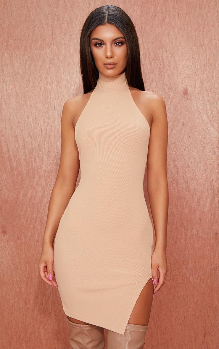 Basic Nude Ribbed High Neck Split Detail Bodycon Dress 3