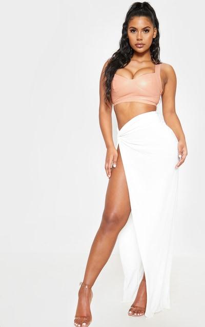 White Slinky Extreme Split Knot Front Maxi Skirt